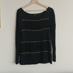 BEBE Gold Chain Long Sleeve Top